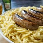 German Comfort Food Recipes: Käse Spaetzle with Beer-Braised Brats