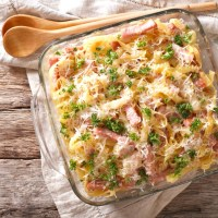 Garlic Parmesan Pasta Bake with Ham