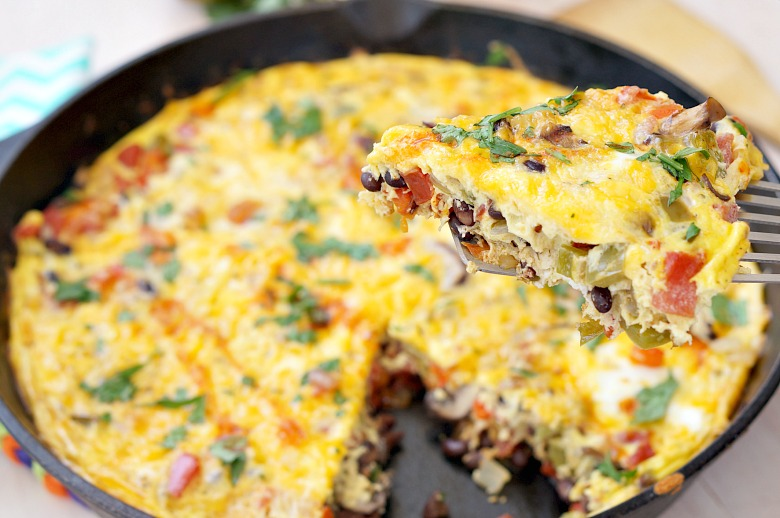 Banish the bland with this Spicy Southwest Veggie Frittata recipe. Loaded with black beans, RO*TEL diced tomatoes, veggies and cheese, this breakfast or brunch recipe will give you the kick you need to get you through your day!