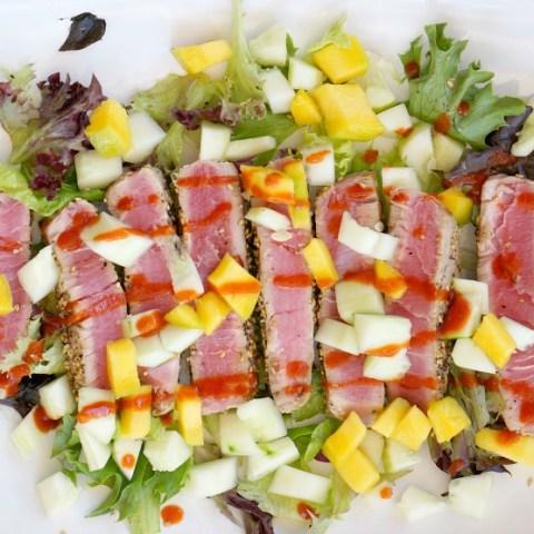 Seared Tuna with Mango and Cucumber