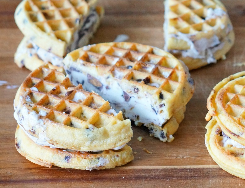With the 4th of July just around the corner, it's time to up our ice cream game! Celebrate Independence in style with this upgraded classic: Chocolate-Dipped Waffled Ice Cream Sandwiches.
