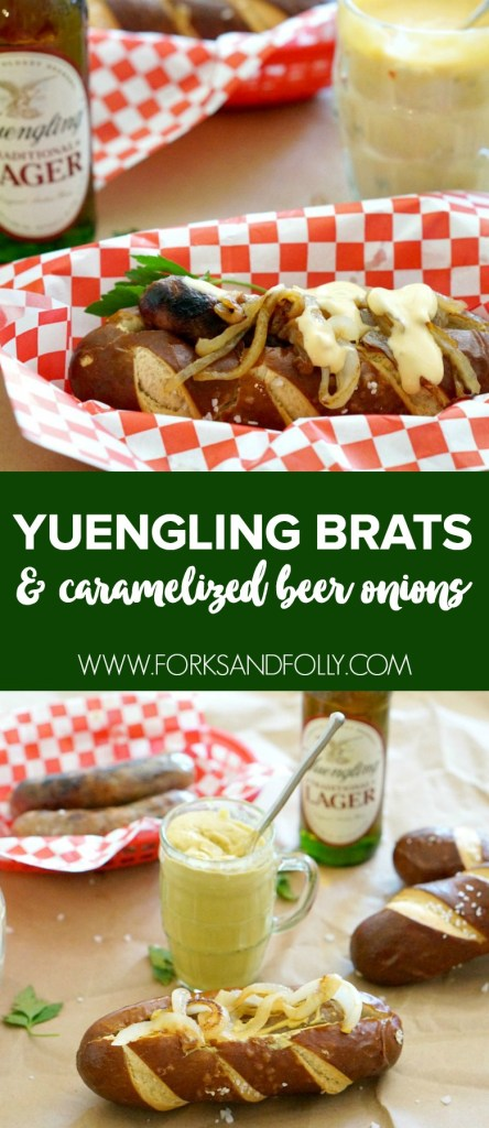 It's always a good time when brats are on the menu... but the party really gets started when you serve these mouth-watering Yuengling Brats with Caramelized Beer Onions. A match made in foodie heaven!