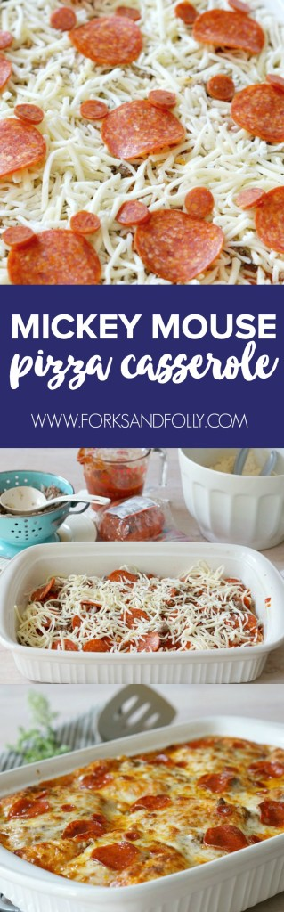 We're celebrating family Friday pizza night with our favorite combo: deep dish pizza and Mickey Mouse!  Whip up this Mickey Mouse themed Deep Dish Pizza Casserole and WOW the crowd.  You'll get smiles from ear to (mouse) ear!