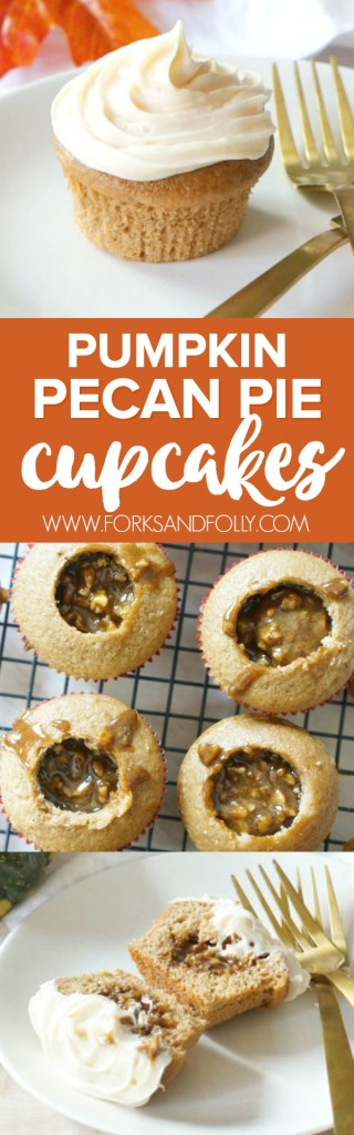 Pumpkin Spice Cake or Pecan Pie?  Why not both?!? Get the best of both fall desserts in with this easy Pumpkin Pecan Pie Cupcakes recipe.  Pumpkin Cupcakes are stuffed with Pecan Pie filing, then topped off with Cream Cheese Icing.