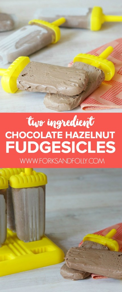 Celebrate the last hoorah of summer with super decadent Two IngredientChocolate Hazelnut Fudgesicles. Darn right delicious and just a tad messy, they're the perfect treat to cap off the summer. It's Week #21 of the #52WeeksofSweets series.