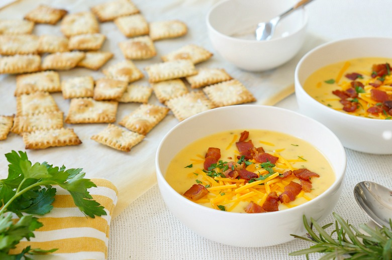 Our recipe for these Herb and Olive Oil Homemade Crackers are the perfect complement to our favorite Loaded Potato Soup. Cuddle up on the couch with a bowl of cheesy soup and these delicious homemade crackers.