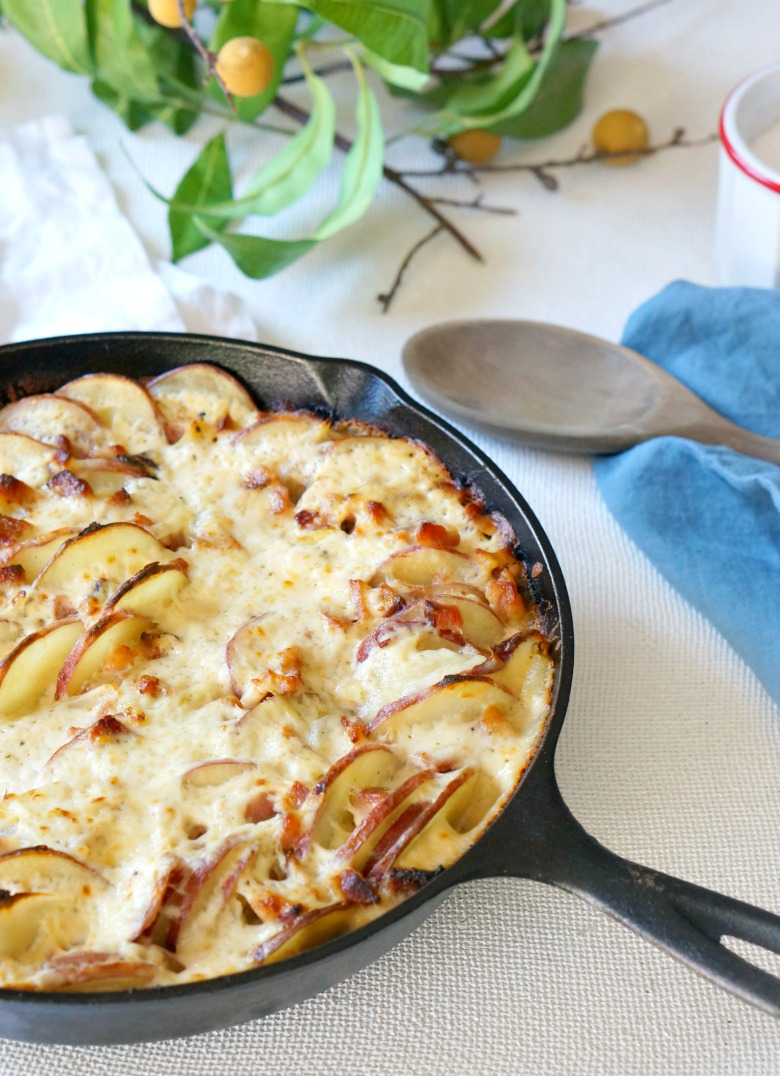 Scalloped potatoes and leftover Easter ham make this Leftover Ham Potatoes Au Gratin the star of the table. It's ooeey, gooey cheesy carby goodness, layered with smoky ham flavors.