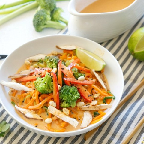OurCoconut Curry Veggie Noodle comes together in less than 15 minutes! Both vegan and gluten free it's an easy and healthy nutrient-packed meal for lunch or dinner.