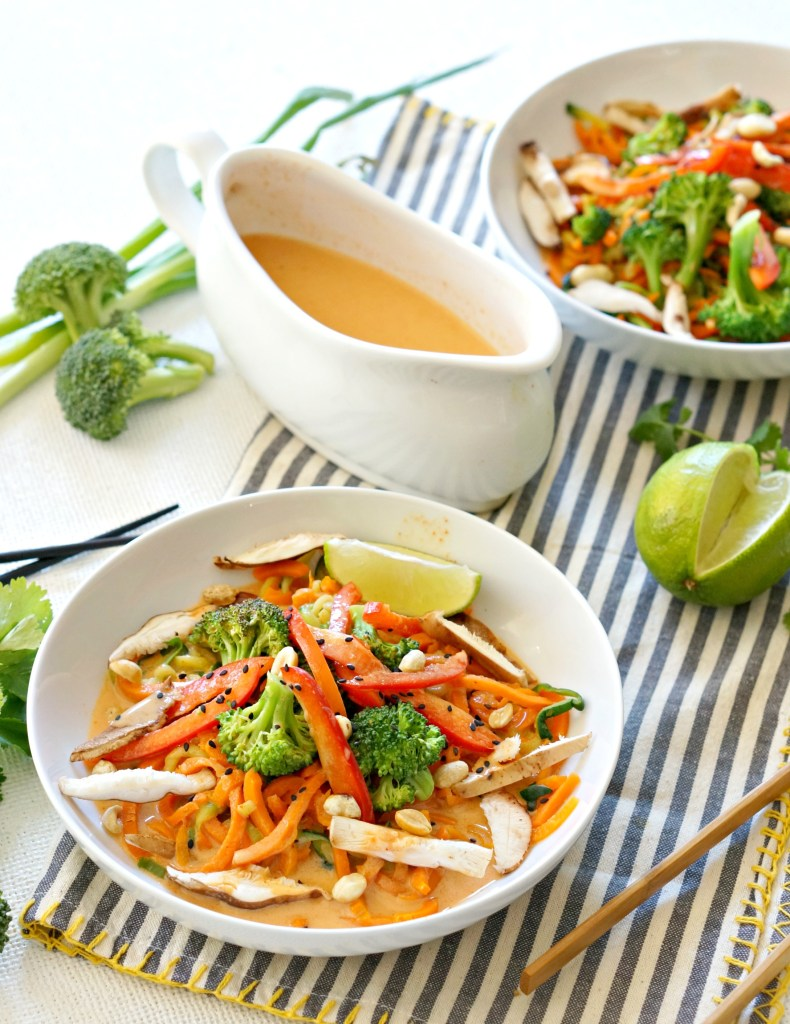 OurCoconut Curry Veggie Noodle Bowl comes together in less than 15 minutes! Both vegan and gluten free it's an easy and healthy nutrient-packed meal for lunch or dinner.