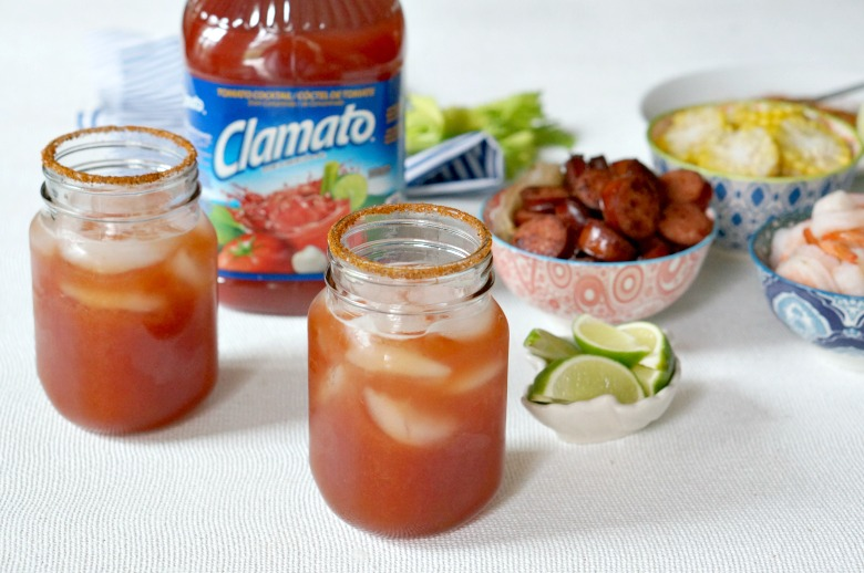 Our Low Country Michelada is brunch in a cup!  Clamato, beer and your favorite seafood boil ingredients come together to make a one-of-a-kind beer cocktail.