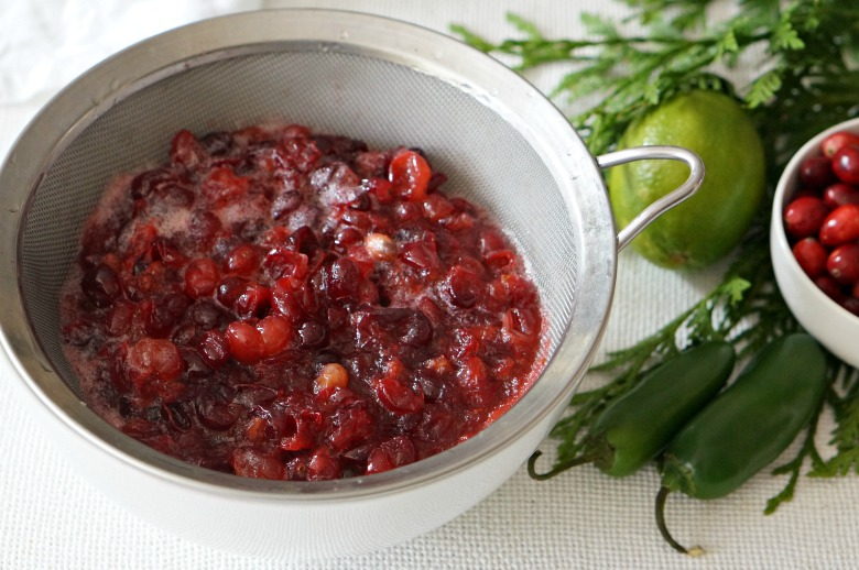 Spoon the cranberry sauce into a sieve and drain excess liquid out. Discard.