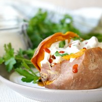 Chicken Stuffed Sweet Potatoes with Creamy Ranch Dressing {Paleo}