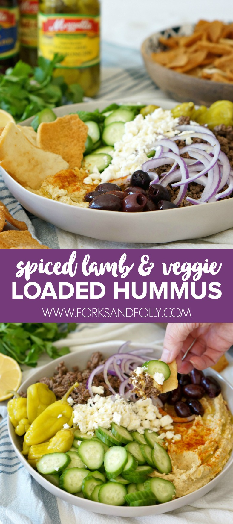 Loaded Hummus with Spiced Lamb and Veggies is the Game Day appetizer you need to serve this year. Serve it with veggies or pita chips for a winning flavor combo!