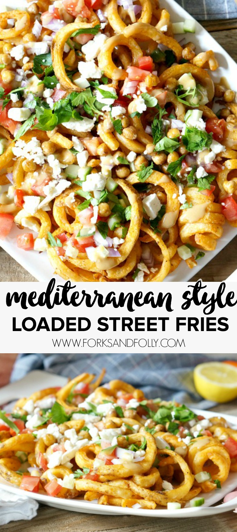 Mediterranean Style Loaded Street Fries are perfect for game-time snacking. Seasoned curly fries are loaded with fresh, crisp veggies, feta and a creamy tahini dressing Yum!
