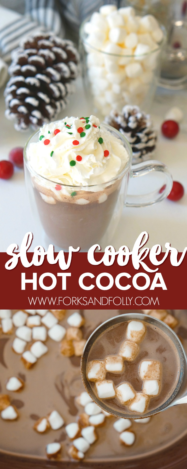 Ditch the instant hot chocolate and make this Rich & Creamy Slow Cooker Hot Cocoa instead.  Perfect for family movie nights and holiday parties!