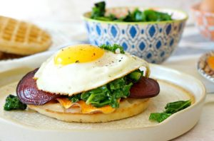 Eat the rainbow with our Roasted Veggie Waffle Sandwich - the perfect recipe for breakfast, brunch or breakfast for dinner!