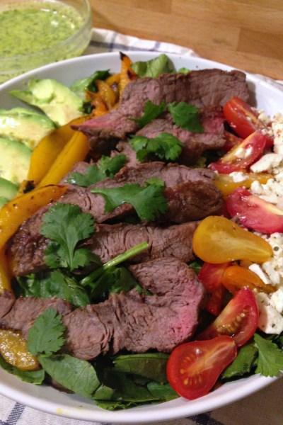 Steak Salad with Cilantro Avocado Dressing