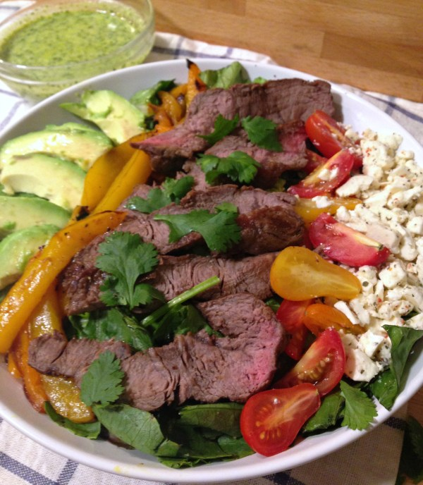 Steak Salad with Homemade Cilantro Avocado Dressing