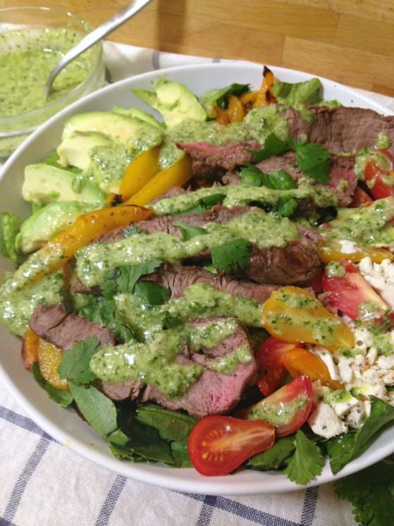 Steak-Salad-with-Homemade-Cilantro-Avocado-Dressing