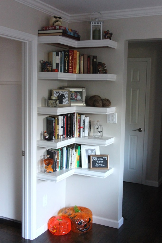 shelf space in empty corner