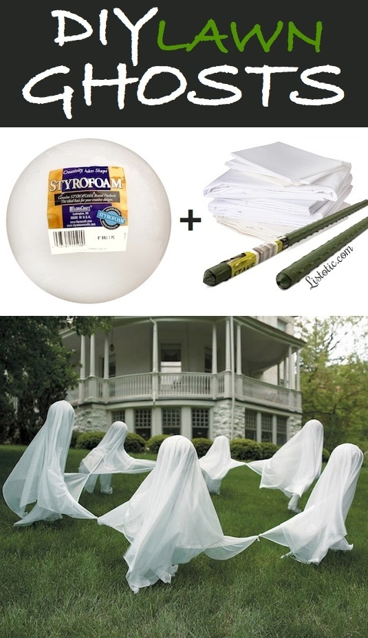 DIY Lawn Ghosts