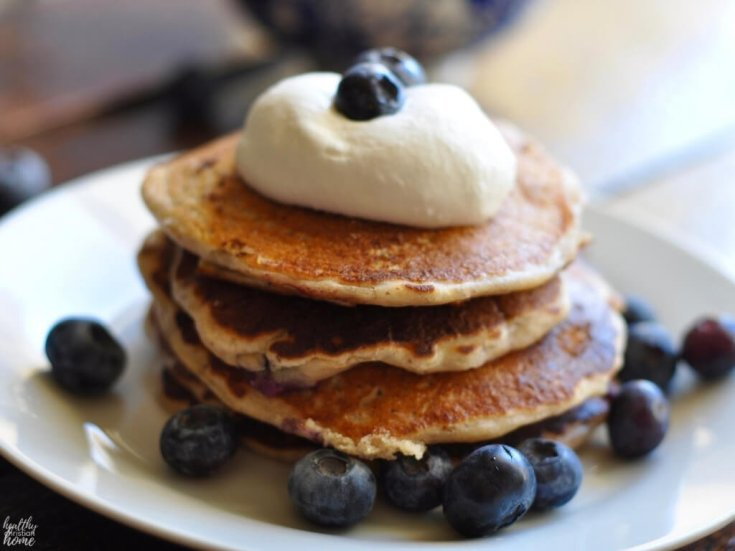 Soaked Blueberry Yogurt Pancakes