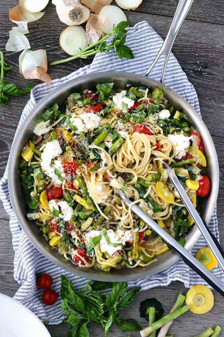 Spaghetti with Burrata and Veggies
