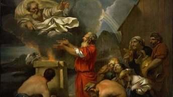 la ofrenda de Noe a Dios pidiendo salvación