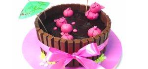 Cómo hacer una tarta de Kit Kat con cerditos, Curso Gratis Online