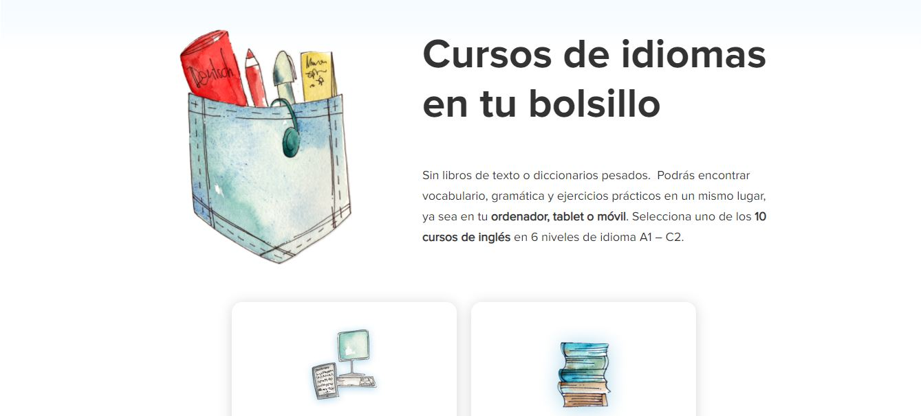 captura de la plataforma para aprender inglés online EasyLingo