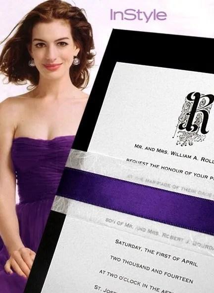 Romantic Black and Purple Wedding Invitations