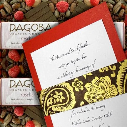 Poppy Red Chocolate Brown And Gold Wedding Invitations