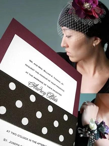 Fabulous DIY Wine Wedding Invitation with Polka Dot Wrap
