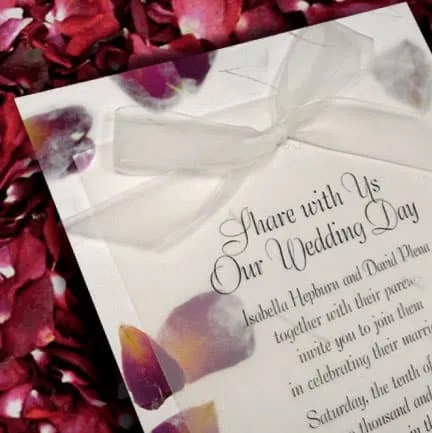 Handmade Wedding Invitations with Real Rose Petals