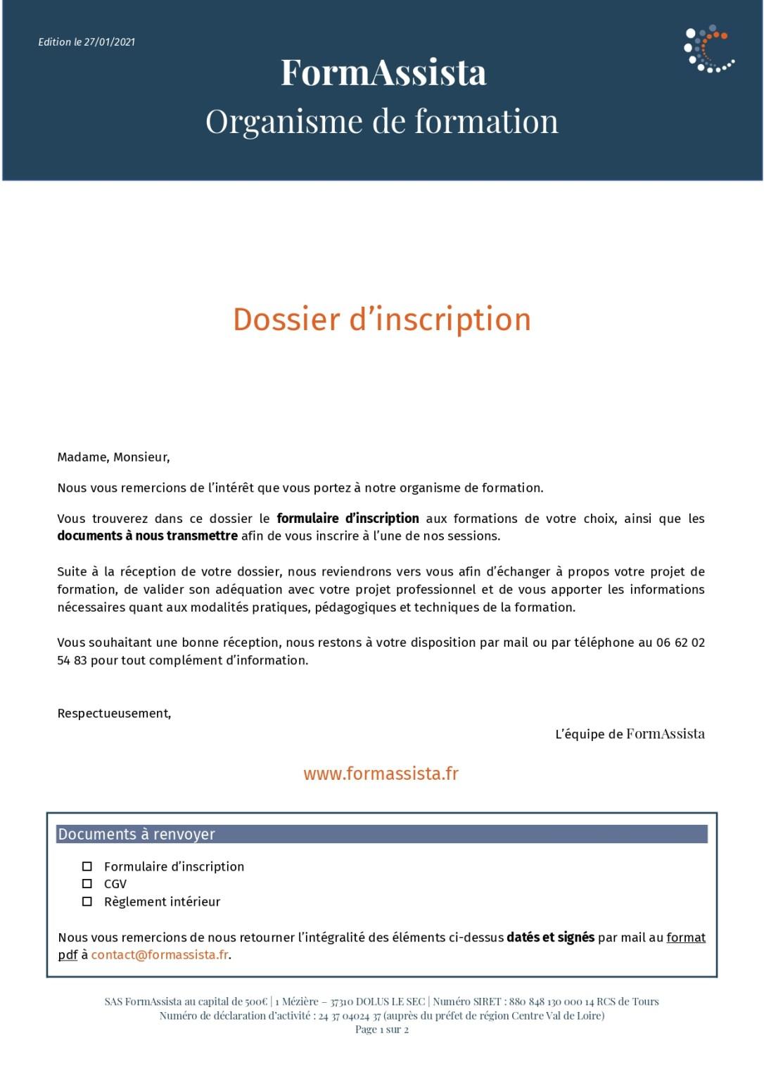 Formulaire d'inscription FormAssista