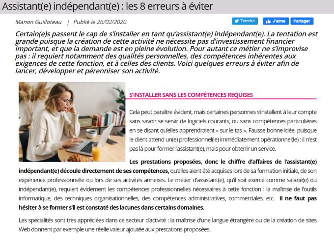 Article Les 8 erreurs à éviter by Manon GUILLOTEAU Avis et satisfaction des stagiaires
