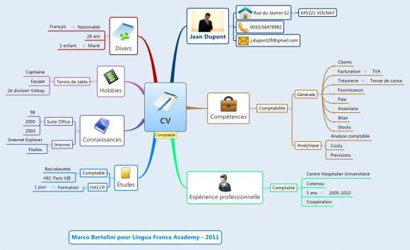Carte mentale XMind - Curriculum Vitae graphique