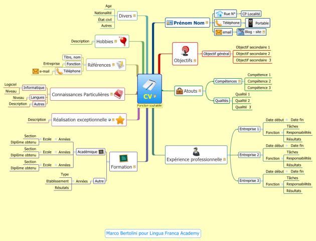 Carte mentale : modèle de cv pour débutant