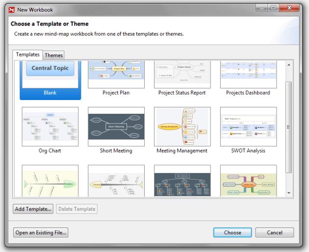 Fenêtre de dialogue de XMind - sélection du thème ou du  modèle de carte mentale