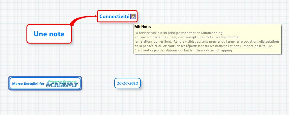 Utilisation de la note dans XMind pour écrire du texte long hors des brances de la carte mentale