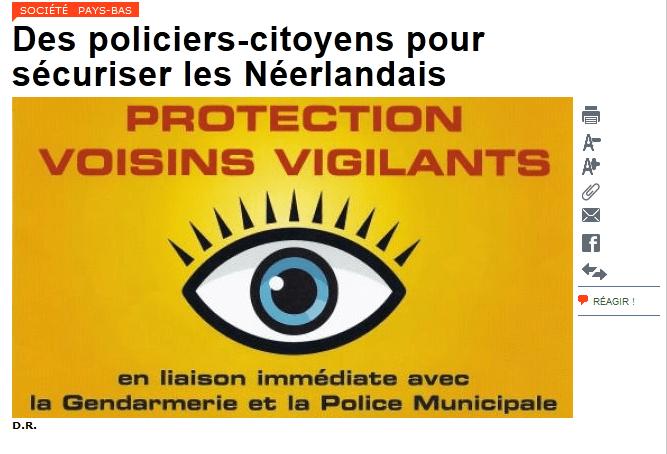 Photo MyEurop pour illustrer l'article sur les citoyens-policiers aux Pays-Bas