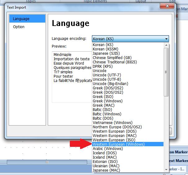 Fenêtre de dialogue de sélection du codage du fichier Texte à importer dans une mindmap