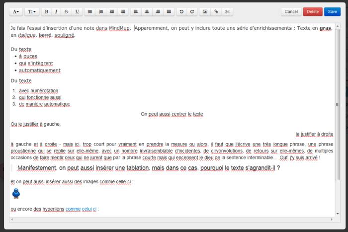 Capture d'écran de l'éditeur de texte du logiciel en ligne de mindmapping MindMup