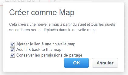 Boîte de dialogue Créer comme map dans MindMeister