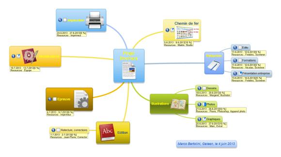 Carte mentale réalisée avec MindMaple, gestion de projet