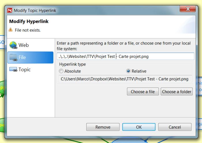 Liaison d'un fichier VUE dans une carte XMind avec un hyperlien