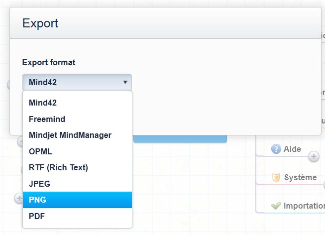 Menu exportation pour la sélection du format des fichiers sur Mind42