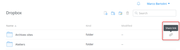 Sélection du fichier ou du dossier à partager via Dropbox en cliquant sur l'icone en forme d'hyperlien
