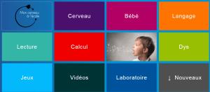 """Page d'accueil de mon cerveau à l'école : chaque """"tuile"""" est un lien vers une série d'articles"""