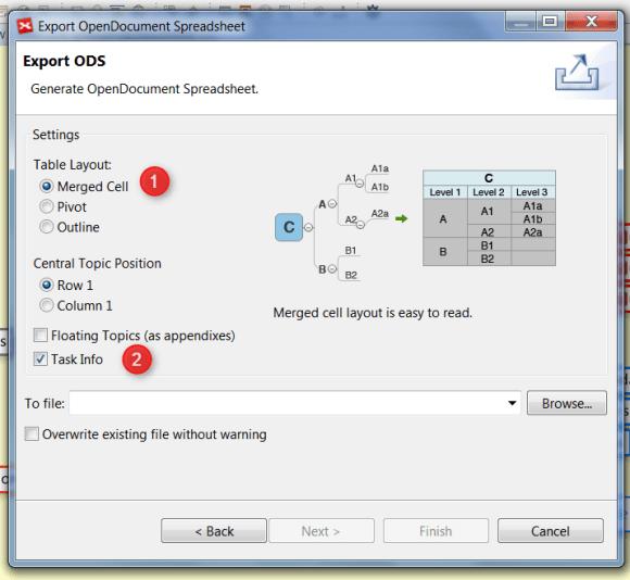 Fenêtre de dialogue d'OpenOffice Spreadsheet dans XMind 6
